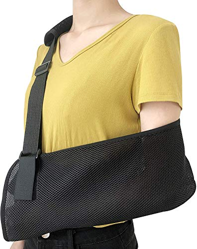Solmyr Arm Sling with Ergonomic Design for Broken Fractured Arm Elbow Wrist, Split Strap, Adjustable Shoulder Strap, Universal for Left and Right Arms, Lightweight and Breathable