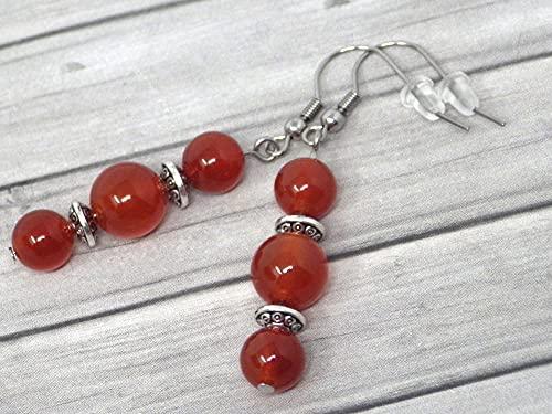 Pendientes colgantes Thurcolas de estilo chic y clásico en cornalina roja y acero inoxidable