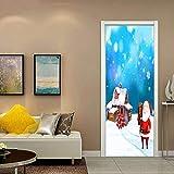 dalongshan Fabric Stickers,Père Noël GIFS Autocollant De Porte DIY Murale Papier Peint Autocollant Amovible Étanche Autocollants Décor À La Maison Stickers 3D 77x200cm