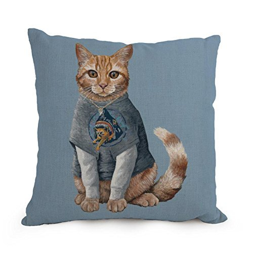 Papaver 12 x 20 inches/30 by 50 cm Cat Throw Cushion Covers Both Sides Ornament and Gift to Boys Girls Her Coffee House Divan Gril Friend