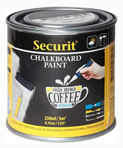 Securit Tafellack, wasserbasierende schwarze Acryl Tafelfarbe mit Kreide und Kreidestiften bemalbar, witterungsbeständig, Dose mit 250 ml ausreichend für ca. 3 qm