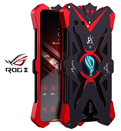 HATA ASUS ROG Phone II ZS660KL Metal Case, ASUS ROG Phone2 ZS660KL Armor Aluminum Alloy Metal Bumper Hollow Rugged Shockproof Anti-Drop Sturdy Cool Metal Cover for ASUS ROG Phone2 6.59 inch(Black)
