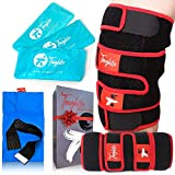 TOUGHITO Knee Ice Pack Wrap - 4 in 1 Anti-Slip Hot & Cold Knee Brace for Joint Pain, Bursitis Pain Relief, Knee Injury, Arthritis, Meniscus Tear, ACL, Sprains & Swelling - Plus Ice Pack Sleeve & Strap