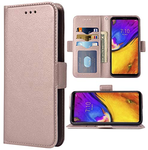Phone Case for LG V35 ThinQ V30 Plus Folio Flip Wallet Case,PU Leather Credit Card Holder Slots Full Body Protection Kickstand Protective Phone Cover for LGV30 LGV35 Thin Q LG35 V35thinq Rose Gold