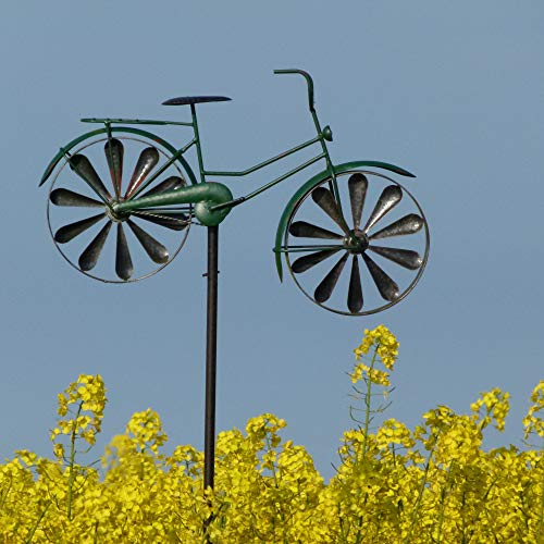 Pommerntraum ® Windspiel Gartendekoration Windrad aus Metall Gartenstecker Fahrrad Damenrad GRÜN