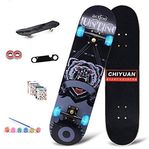 L & WB Compleet skateboard met kleurrijke led-lampen, wielen, 7 lagen esdoornhout, voor volwassenen, voor beginners, verjaardagscadeau