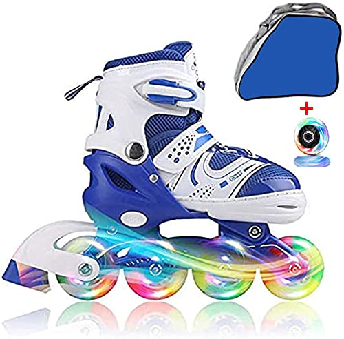 JIFAR Youth Children's Inline Skates for Kids, Adjustable Inline Skates with Light Up Wheels for Girls Boys, Indoor&Outdoor Ice Skating Equipment Small Size(12J-2 US),Blue