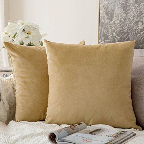 MIULEE Pack de 2, Terciopelo Suave Juego de Mesa de Manta de decoración Cuadrado Fundas de Almohada Funda de cojín para sofá dormitorio18 x 18 Pulgada 45 x 45 cm Caqui