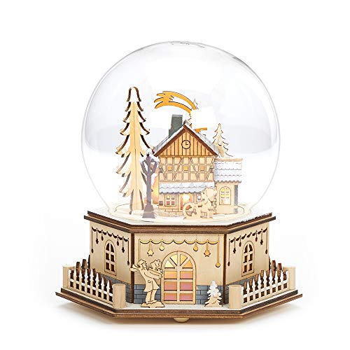 Roman 8.75' Christmas LED Wood Cut Town Table Top Dome Decoration