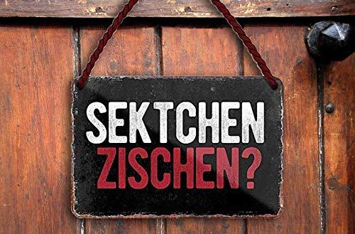 """schilderkreis24 – Blechschild Lustiger Sekt Alkohol Spruch """"Sektchen zischen?"""" Deko Bar Küche Prosecco Champagner Secco Wein Geschenkidee Geburtstag Weihnachten Frauen 18x12 cm"""