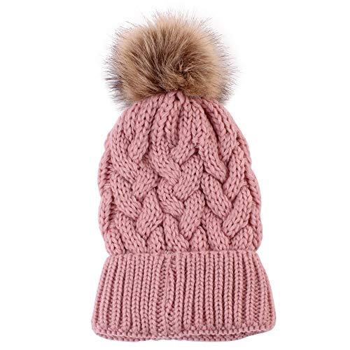 KPPONG 2018 Frauen Mode Nette Gestrickte Wolle Säumen Hut Halten Warme Winter Hüte Rosa