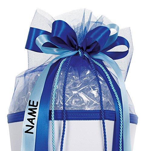 alles-meine.de GmbH große 3-D Schleife - incl. Name / Text - 24 cm breit u. 54 cm lang - Kordel blau hellblau - für Geschenke und Schultüten