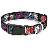 Buckle-Down Dog Collar Plastic Clip The Joker Pose Cards Hahahaha Black Gray 8 to 12 Inches 0.5 Inch Wide (DC-BKSR-WJK003-0.5-M)