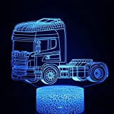 Bus luminoso 6D acrílico multicolor luz nocturna luz LED multicolor decoración creativa lámpara de mesa pequeña con base agrietada