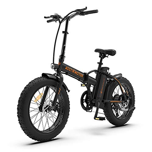 Aostirmotor Folding Electric Bike 20 inch Fat Tire Electric Bicycle with 500W Motor 36V 13AH Removable Lithium Battery,ebike for Adults (Black)
