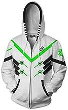 Evere OW Reaper Hoodie Cosplay 3D Printed Thin Zip Up Pullover Jacket Sweatshirt Anime Costume Coat for Men/Boys