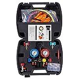 Lichamp AC R134A HVAC R410A Manifold Gauge Set with Hose Kit 410A 134A R404A R22 Diagnostic Manifold Gauge Kit