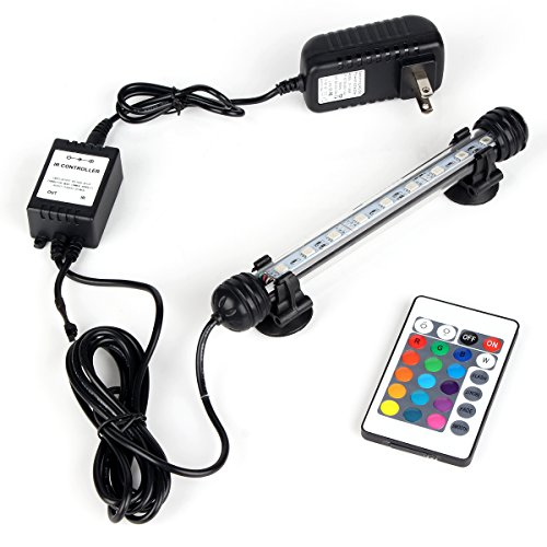 DOCEAN Aquarium Light with IR Remote Control, RGB Submersible Fish Tank Light, 9 LED, 7inch/18cm, 2W/100-240V, Premium Acrylic Underwater Aquarium Lamp for Fish Tank