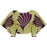 EMILYLE レディース トップス ファッション サマーアフリカ トランペットスリーブ セクシー おしゃれ ブラウス (L, イエロー&パープル)