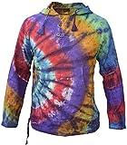 Gheri - Sudadera con capucha, efecto desteñido, de algodón ligero, para el verano, estilo hippie, psicodélico, bohemio, para abuelo Rainbow Tie Dye espiral lateral XXXL