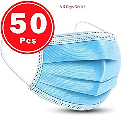 50 PCS Disposable Face Màsks 3-Ply with Earloops Protective for Dust, Pollen, Blue