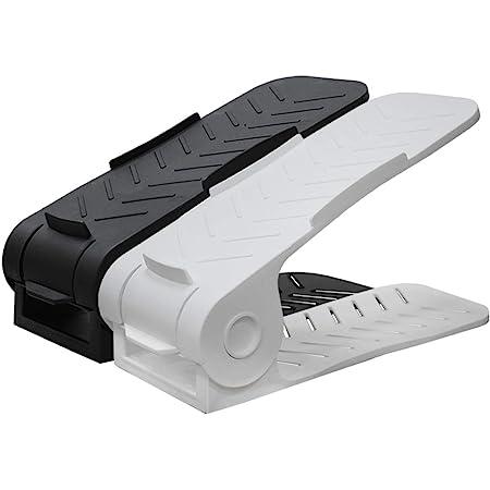 Aditya polymers Plastic Standard Adjustable Shoe Organizers - Black and White, 12 Pc pack