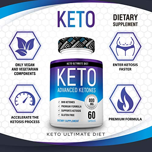 Keto Ultimate Diet - Ketogenic Diet Supplement with Beta Hydroxybutyrate Ketone Salts - Boost Energy and Metabolism - Keto Pills 60Caps 6