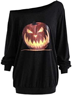 iYBUIA 2018 Women Plus Size Long Sleeve V-Neck Halloween Angry Pumpkin Skew Neck Tee Blouse Tops