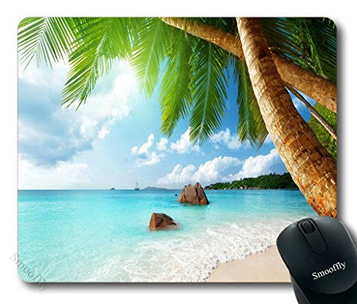 Smooffly Gaming Mouse Pad Custom,Tropical Palm Tree Mouse Pad Beach Coconut Blue Sea Non-Slip Rubber Mouse pad Gaming Mouse Pad