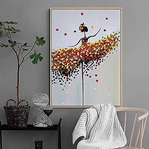Cartel de obras de arte abstracto danza chica carteles coloridos escandinavo cuadro de arte de pared para sala de estar decoración del hogar 60x80cm sin marco