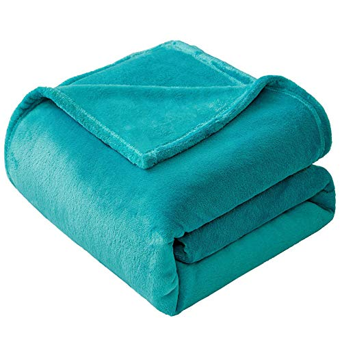 VEEYOO Flannel Fleece Blanket Twin Size - Teal Throw Blanket for Bed Lightweight Super Soft Blankets and Throws Fuzzy & Plush Luxury Couch Blankets for Teens Boys Grils (60x80 Inch Bed Throws)
