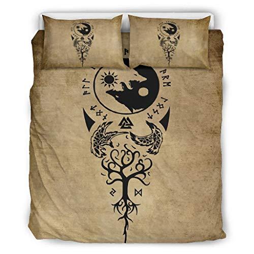 Twelve constellations Edredón Vikings Tattoo cuervos Yin Yang Wolf suave todo el año – 1 funda nórdica y 2 fundas de almohada para dormitorio juvenil blanco 168 x 229 cm