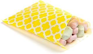 "Disposable Paper Bags, Cookie Bags, Deli Bags, Bakery Bags - Yellow Asian Monogram - 7"" x 5"" - 100ct Box - Restaurantware"