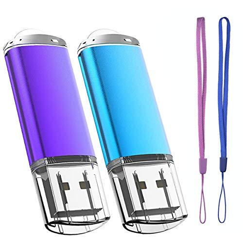 Lot de 2 Cle USB 64 Go Cléf USB 2.0 Flash Drive Stockage Disque Mémoire Stick Pendrive avec Cordes (Bleu Violet 64GB)