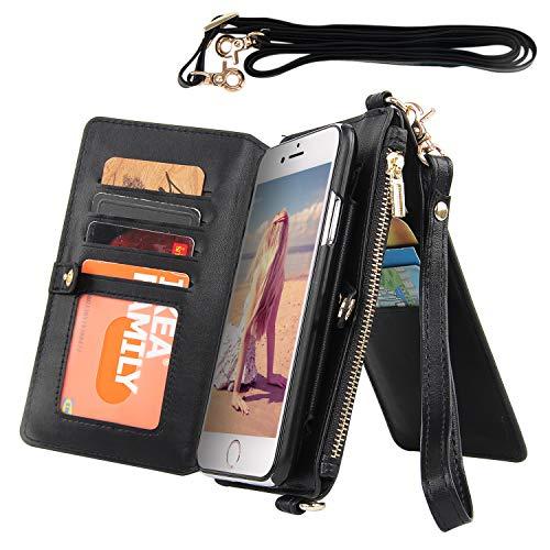 Imikoko Handykette Hülle für iPhone 7/iPhone 8 Necklace Flip Hülle Brieftasche mit Kordel Wallet zum Umhängen PU Handy Schutzhülle mit Band - Schnur mit Case zum umhängen(Silber)
