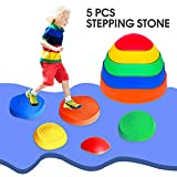 OMNISAFE Balance Stepping Stones Obstacle Course for Kids, Set of 5 River Stones, Indoor & Outdoor Toy Helps Build Coordination & Strength, Non-Slip Textured Surface and Rubber Edges