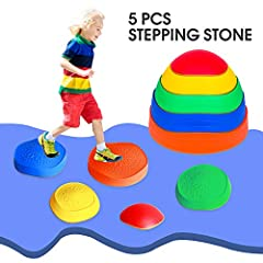 【Promote Balance & Coordination】This Balance Stepping Stones for Kids help your child build confidence in their balance and coordination. Playing with the stepping stones kit helps them learn to determine distance and height. Hopping from stone to st...