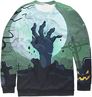 KLFGJ Women Realistic 3D Digital Print Pullover Long Sleeves O Neck Sweatshirt for Halloween