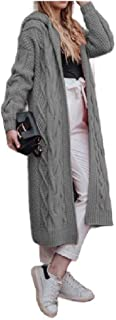 Howely Women Solid Knitting Hooded Open Front Cardigan Mid-Long Jacket Coat