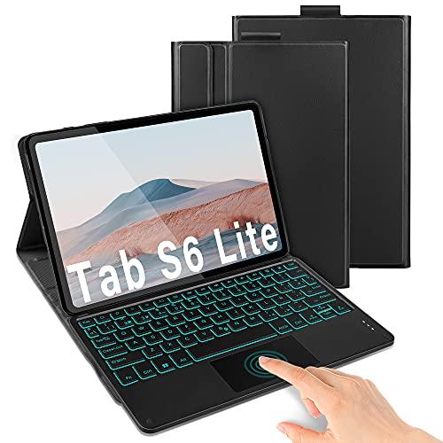 """Funda con Teclado Touchpad para Samsung Galaxy Tab S6 Lite 10.4"""", 7 Colores Retroiluminación Extraíble Teclado Bluetooth con estuche para Samsung Tab S6 Lite 10.4"""" SM-P610/P615, Español Ñ, Negro"""