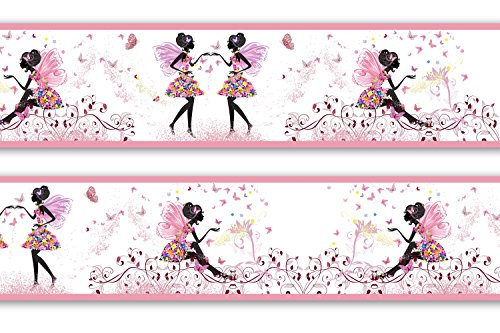 Bordüre Mädchen Schmetterlingselfe selbstklebend Vinyl, Größe: 560cm x 15cm, Tapetenbordüre, Wandbordüre, Borte, Kinderzimmer