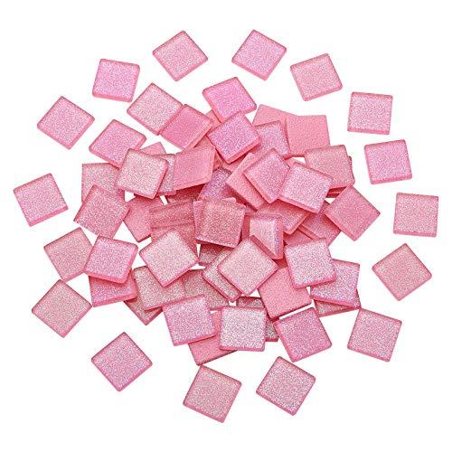 SUPERFINDINGS 72pcs Azulejos de Mosaico de Cristal con Purpurina Cuadrada Cabujones Cristal de Mosaico de Cristal Brillante para decoración del hogar, Rosa Fuerte 20x20x4mm