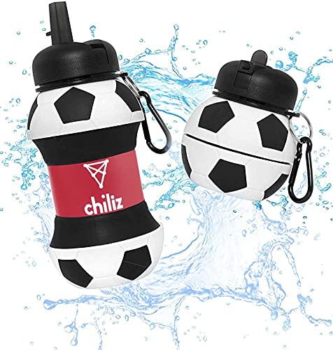 Botella Agua Silicona Diseño Criptomoneda Chiliz - Plegable - Libre de BPA - Muy Resistente - Agua Limpia y Pura - 550ml