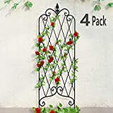 Amagabeli 4 Pack Garden Trellis for Climbing Plants 47' x 16' Rustproof Sturdy Black Iron Trellis for Potted Plants Support Lattice Metal Trellises for Climbing Rose Vine Flower Cucumber Clematis GT01