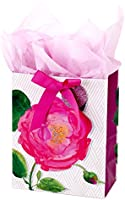 "Hallmark 9"" Medium Gift Bag with Tissue Paper (Pink Rose) for Birthdays, Mothers Day, Bridal Showers, Weddings or Any..."