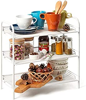 3-Tier Countertop Rack, EZOWare Mesh Storage Organizer Tabletop Shelf for Kitchenware Bathroom Cans Foods Spice Office - White