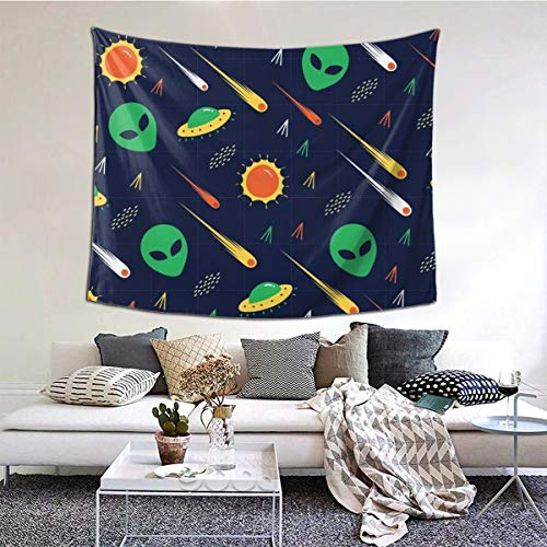 GuoJJ Alien UFO Comet Invasion Star Wars Science Wall Tapestry with Art Chakra Home Decorations for Bedroom Dorm Decor in 51x60 Inches