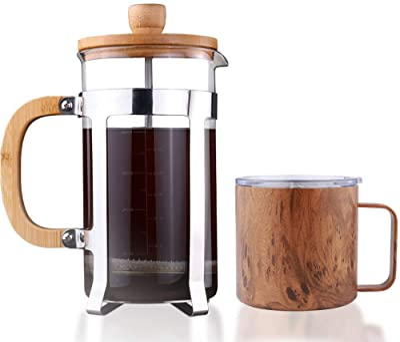 Sivaphe 34 OZ Bamboo French Press Coffee Maker and 14 OZ Travel Coffee Mug
