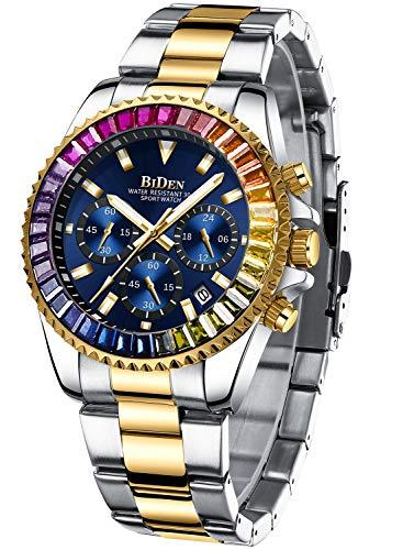 Relojes Hombre Relojes Diamante de Pulsera Cronografo Diseñador Luminosos Impermeable Reloj Hombre de Acero Inoxidable Dorado Azul Analogicos Fecha