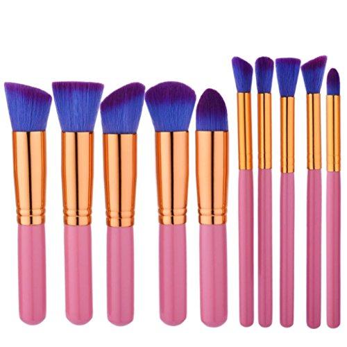 YanHoo Bürste Neue 10 STÜCKE Make-Up Foundation Augenbrauen Eyeliner Erröten Kosmetische Concealer Pinsel Puder Augenschminke EIN Schere Pusher Trimmer Neu 2018 Pinsel Set
